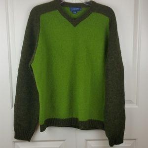 Men's J. Crew Green Colorblock Wool Sweater M EUC